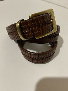 Tommy Bahamas Leather Belt Mens 34 braided Weave Braided brown brass buckle