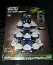 "Star Wars Darth Vader Wilton Cupcake 3 Tier Stand Blue Cardboard 12X16.5"" New"