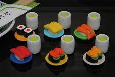 6 IWAKO mini Sushi Go Round SUSHI Puzzle Eraser Set