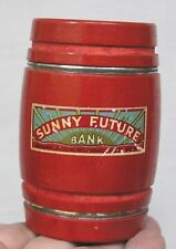 Vintage Figural Wood Barrel Bank Sunny Future