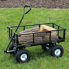 Sunnydaze Black Heavy-Duty Steel Log Cart 34-Inches Long - 400-Pound Capacity