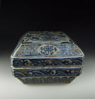 Chinese Antique B&W Porcelain Food Box w Flower Pattern
