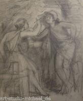 """Bleistifzeichnung in der Art von H.v. Marees Um 1860 """"Die Erfindung der Malerei"""""""