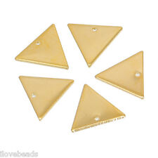 10PC Gold Plated Lead-free Nickel-free Cadmium Triangle Copper Pendant 14x12mm