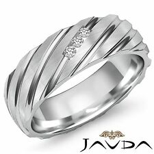 3 Stone Diamond Men Half Wedding Band Solid 7mm Comfort Fit Ring Platinum 0.11Ct
