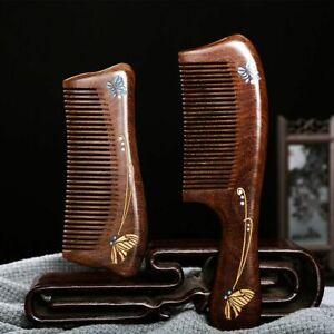 Wood Hair Comb Anti Static Handmade Wooden Green Sandalwood Combs