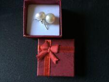 Hand Select Genuine 8mm White Pearl .925 Sterling Stud & Sterling Back Earrings