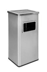 Standaschenbecher Mülleimer Aschenbecher 61cm 45 Liter Silber