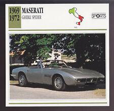 1969-1972 Maserati Ghibli Spider Ghia Car Photo Spec Sheet Info Stat ATLAS CARD