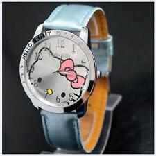 New Big Face Lovely Hello Kitty Girls Ladies Wrist Watch Quartz Fashion Blue 169