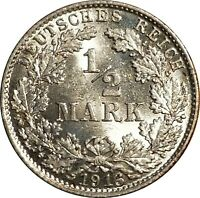 1916-D Germany Silver 1/2 Mark, KM-17, Munich Mint, Lustrous BU, Uncirculated