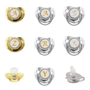 26 Name Initial Letters Baby Pacifier Golden Bling Rhinestone Silicone Pacifier