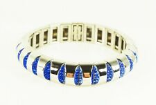 KATE SPADE Sliced Scallops Rhodium Plated Blue Multi Crystals Stretch Bracelet