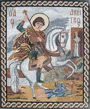 "72 x 50"" St. George Religious Icon Marble Mosaic For Church Art Tile Stone Decor"