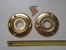 2 x 60 mm DIAMETER ANTIQUE STYLE BRASS DOOR KNOB BACK PLATE / ROSES / RIM LOCK