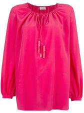 Saint Laurent YSL Paysanne Crepe De Chine Silk Drawstring Blouse Tunic Pink 34