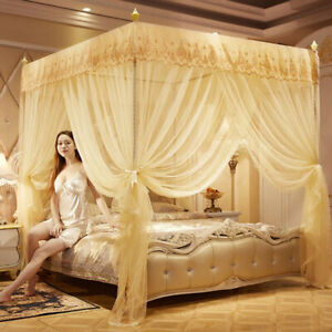 Princess 4 Corner Post Bed Mosquito Net Curtain Canopy Netting Queen King D
