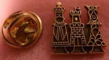10k Solid Gold King & Queen Pin SMALL Castle Fraternal Pin? Cartoon