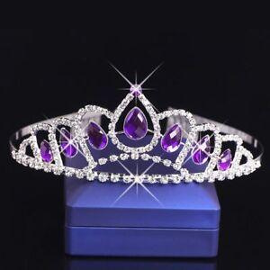 Fashion Purple Crystal Tiara Crown Headband Bridal Wedding Accessories l