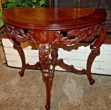 New listing Circa 1920s French Pierce Carved and Inlaid Demilune Table