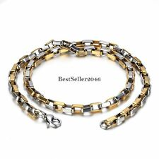 Gold and Silver Tone Stainless Steel Box Venetian Chain Men's Necklace 22 Inches