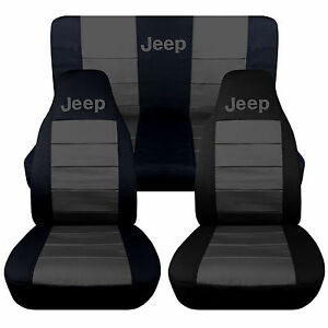 1976-2018 Jeep Wrangler Two Tone Seat Covers Canvas Front & Rear Choose color