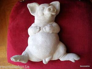 Stucco - Gartenfigur schlafendes Schweinchen aus Beton 150-503B sehr süß Schwein