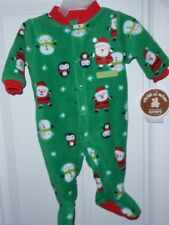 CARTERS Child of Mine Size 0-3 Month Christmas Print Footed Blanket Sleeper NEW