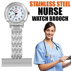 Nurses Pocket Watch Stainless Steel Metal Pin Brooch Clip Quartz Tunic Fob Watch