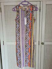 Glamorous Bodycon Midi Dress Peach Aztec Print Size 8
