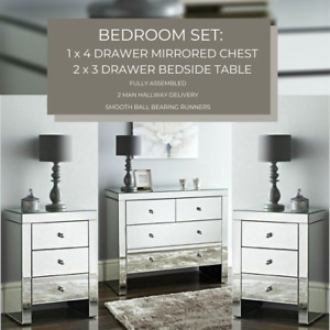 BEDROOM SET : Mirrored Chest of 4 Storage Drawers & 2 Mirror Bedside Night Chest