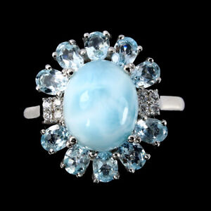 Unheated Oval Larimar 11x9mm Sky Blue Topaz Cz 925 Sterling Silver Ring Size 9.5