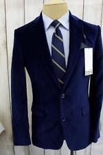 New Bar Iii Slim Fit Blue Velvet Cotton Sport Coat Blazer Jacket My1