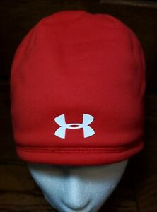 Under Armour ColdGear Element Beanie Choice Red/White NEW Fast Ship Hat One Size