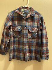 VTG Pendleton Red Blue Shadow Plaid Board Shirt Size S-M Virgin Wool Read Desc