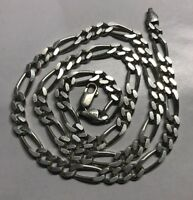 Sterling Silver 925 Unisex Figaro Chain Link 22 Heavy 37g Signed kA Italy5mm