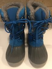 LANDS END Kids Snow Rain Boots Size 2 Blue Sherpa Lined
