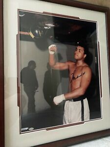 Muhammad Ali Signed Framed 16x20 Punching bag, Mounted Memories COA hologram MM
