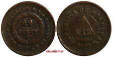 """Honduras Bronze 1895 1 Centavo """"UN"""" Struck over """"10""""  SCARCE KM# 59"""