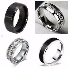 Fashion UNISEX Titanium Engagement Band Stainless Steel Ring Jewelry Size 9-11
