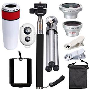 Universal 10 in 1 Lens Phone Camera Cell Clip Telescope Kit 8X Zoom White