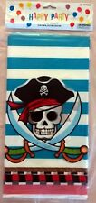 2X Pirate Skull Striped Birthday Plastic Table Cover 54 X 108 Inches