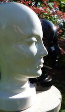 ANCIENNE MAROTTE, TÊTE A CHAPEAU VINTAGE DE FEMME EN CÉRAMIQUE BLANCHE