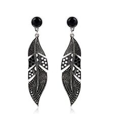 Women's Vintage Silver Hollow Leaf Feather Long Drop Earrings Christmas Gift UK