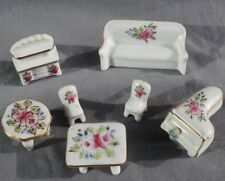 Collectible porcelain doll house furniture set of 7 with gold trim made in Japan