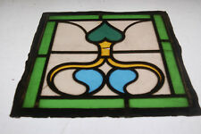 THREE RECLAIMED STAINED GLASS PANELS GREEN AND YELLOW ref 848