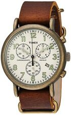 Timex Men's TW2P85300 Weekender Chrono Oversize Antiqued Brass/Brown Leather