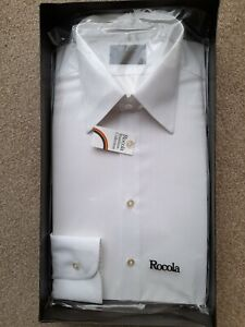 NEW & BOXED VINTAGE MENS ROCOLA REVERE LONG SLEEVED WHITE SHIRT COLLAR SIZE 17