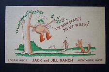 Storm Brothers JACK & JILL RANCH Montague, Michigan vintage postcard 1945