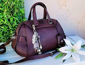 COACH ACE Burgundy glovetanned Leather Satchel Crossbody Bag purse handbag 37017